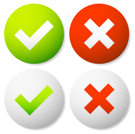 disallow: Eps 10 Vector Illustration of Check mark and Cross Icons Illustration