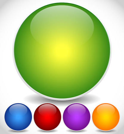 Eps 10 Vector Illustration of Colorful, Bright Circle Icons with Empty Space and Glossy Effect Vector