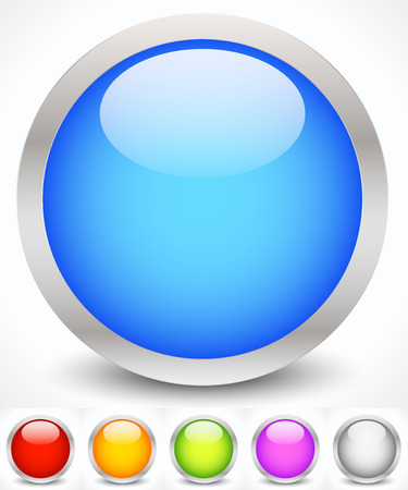 plain button: Vector Illustration of Glossy Colorful Circles with Metallic Frame Illustration