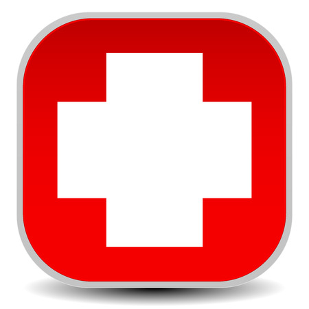 Vector Illustration of White Cross Over Red - For First Aid, Health Concepts Vector