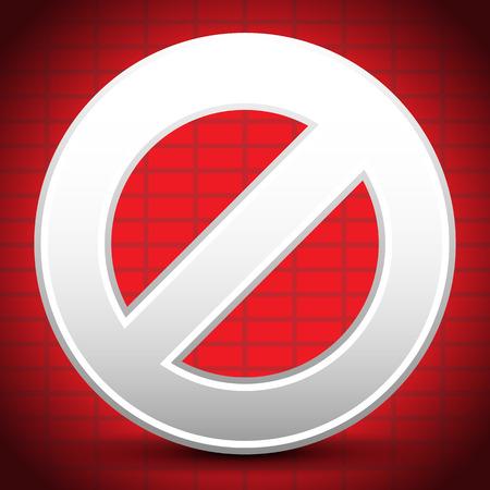 brickwall: Ilustraci�n vectorial de dibujos animados prohibici�n, restricci�n Signo Sobre Fondo del ladrillo del extracto de pared Vectores