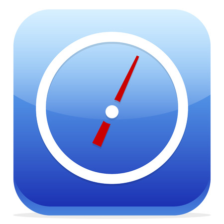 Vector Illustration of Blue Icon with Dial, Gauge  Meter Symbol Illustration