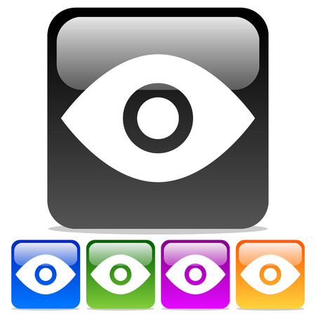 Vector Illustration of Eye Icons: Eye symbols on Glossy rounded squares. Vector