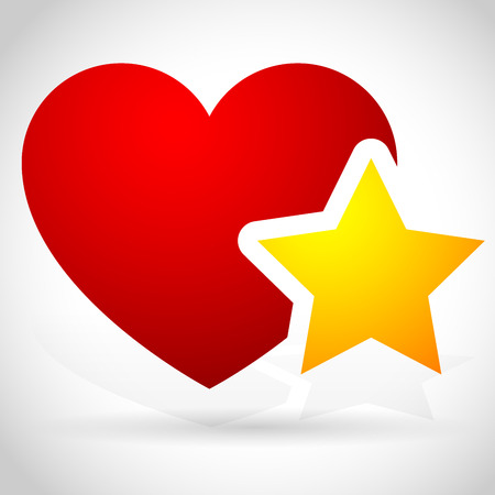 favorites: Vector Illustration of Add to favorites icon - Heart with Star