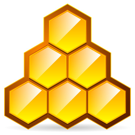sweetener: vector illustration of Honeycomb, honey cell illustration  icon isolated. Organic sweetener, natural food, nutrition, healthy ingredients, beekeeping, natural structure concepts.