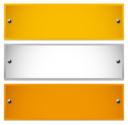 name plate: vector illustration of Long, rectangle golden, silver, bronze plaques  with rivets. Sheets of precious metals