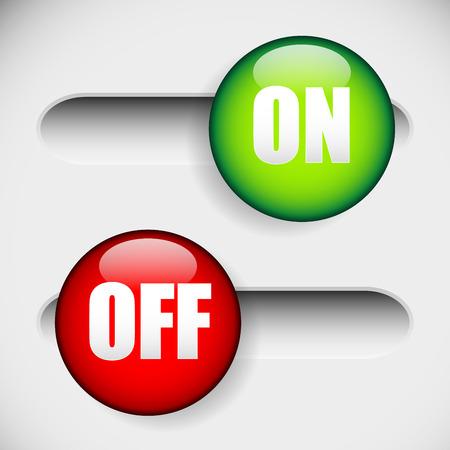 activacion: ilustraci�n vectorial de Horizontal Encendido y apagado, bot�n de encendido en 2 estados. IU, elemento GUI. Verde y rojo botones de encendido.