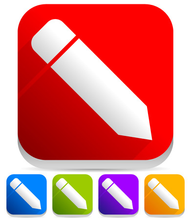 Vector Illustration of Pencil Icons - 3D Square, Colorful Icons with Pencil Symbols
