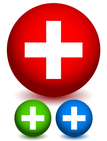 addendum: Vector Illustration of Icons with Plus Sign. Sign for Medical, First-aid, Health-Care concepts Illustration