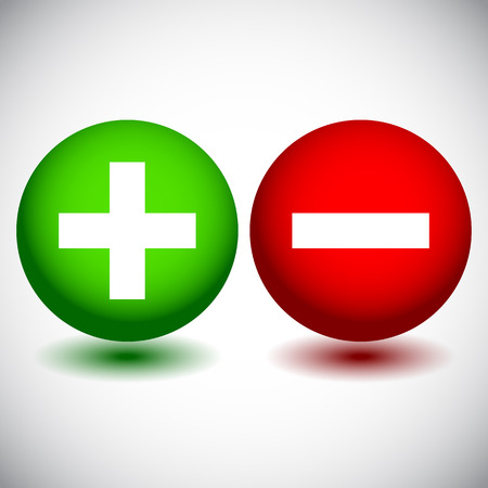 Vector Illustration of Plus and Minus Icons