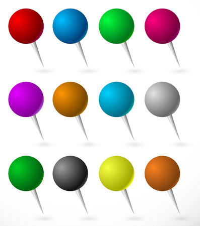 fixation: vector illustration of Push pin, thumbtack set with sphere heads. Several colors.