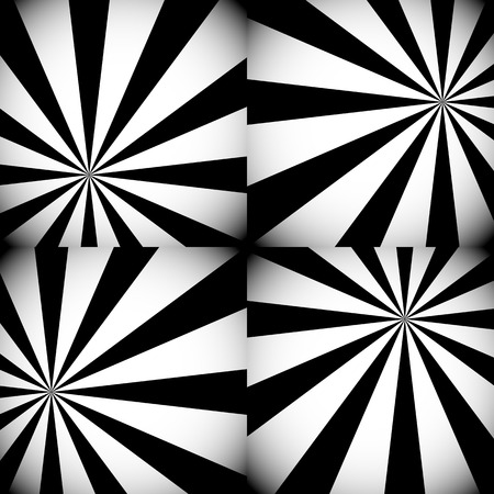 Vector Illustration of Grayscale  Monochrome Sunburst, Starburst Backgrounds with Radiating Rays or Lights