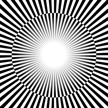 Vector Illustration of Black and white Rays, starburst background with alternating, checkered colors.