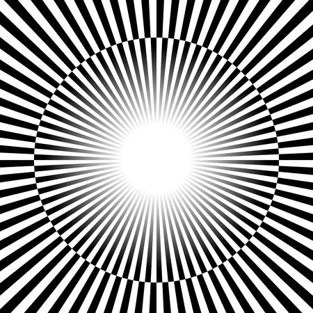 Vector illustratie van zwarte en witte Rays, starburst achtergrond met afwisselende, geruite kleuren. Stock Illustratie