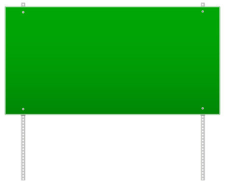 bilboard: Vector Illustration of Empty rectangular road sign on poles. (poles with holes) Illustration