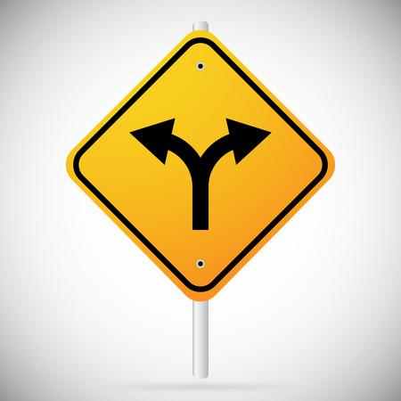 Vector Illustration of Junction Road Sign - Separation, two paths, two ways. Vector Illustration. Illustration
