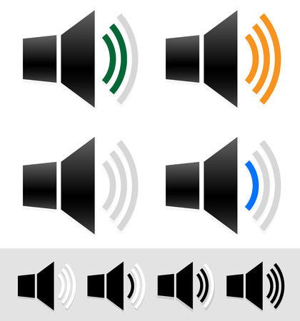 mute: vector illustration of Volume, sound level indicators with speaker icons.