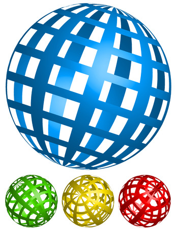 Vector Illustration of Wire-frame, grid spheres. 4 angles in 4 colors Vectores