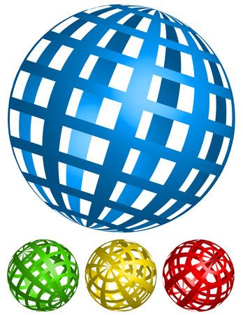 spherule: Vector Illustration of Wire-frame, grid spheres. 4 angles in 4 colors Illustration