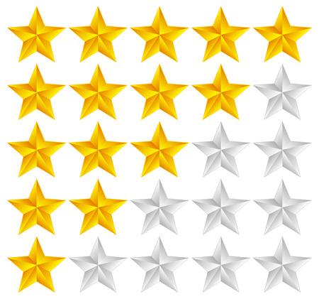 star rating: Illustrazione vettoriale di stelle Template Vector con le stelle 3d