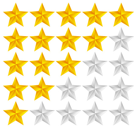 Vector Illustration of Star Rating Template Vector with 3d stars