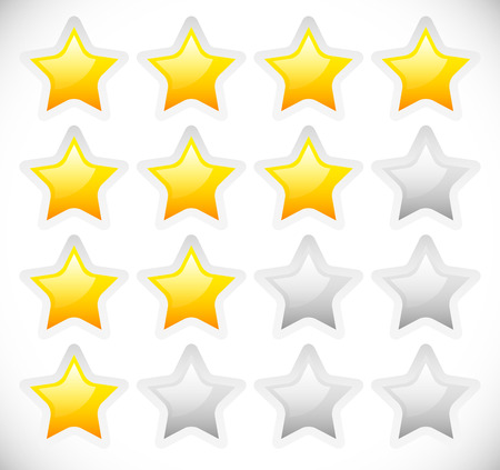 star rating: Vector Illustration of Star Rating Template Vector with rounded, Bright Stars