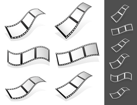 filmstrips: Vector Illustration of a Set of 3d Filmstrips with gray fillings with different distortions. Silhouette versions included. Illustration