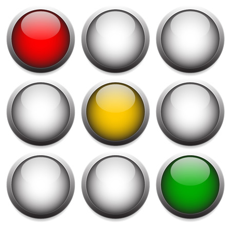 trafic stop: vector Illustration of Traffic lights, lamps isolated on white. Red, yellow, green lights. Stop, wait, go concepts.