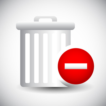 Vector Illustration of Trash Can Icon with Minus  Remove Sign. Delete, Remove. Illustration
