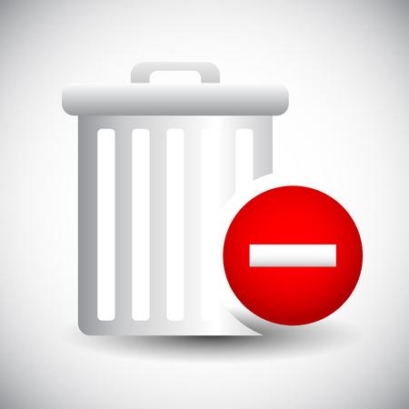 eliminate: Vector Illustration of Trash Can Icon with Minus  Remove Sign. Delete, Remove. Illustration