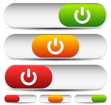 Vector Illustration of Horizontal 3 State Power Button Illustration