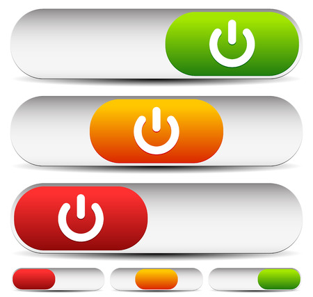 activate: Vector Illustration of Horizontal 3 State Power Button Illustration