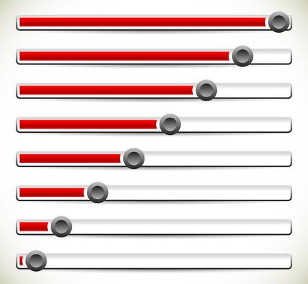 potentiometer: vector illustration of Vertical sliders, adjusters or loading bars. UI, GUI or Web element