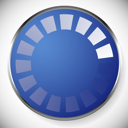 buffer: vector illustration of Preloader, buffer shape on plate with metallic border in stylish blue color