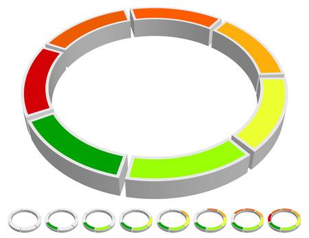 stage chart: Vector Illustration of Circular-Circle Progress Indicator. Chart, Info graphics  Presentation Element