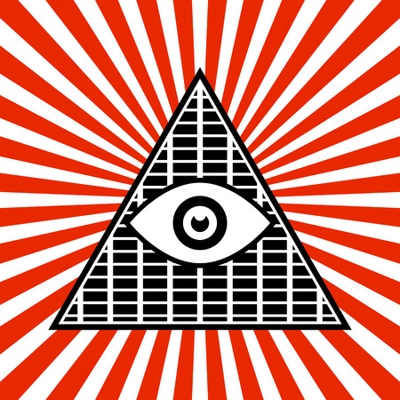 Vector Illustration of Symbolic Pyramid Graphics with The All-seeing Eye Vector