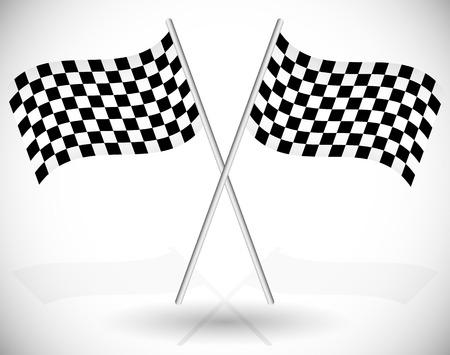 Ilustraci�n del vector de banderas cruzadas a cuadros de carreras