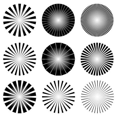 放射状の要素のベクトル図を設定します。スター バースト、サンバーストの背景、線テンプレート