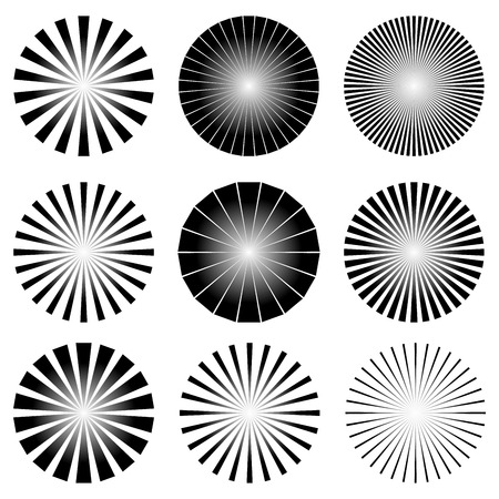 Ilustraci�n del vector de la Radial Conjunto de elementos. Starburst o Sunburst Fondos, Rayos Plantilla Vectores