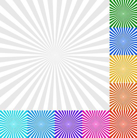Vector Illustration of Sunbeam, Starburst - Sunburst Background Set. 9 Colors and a Monochrome version Illustration