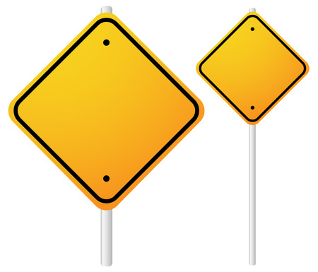 smaller: Vector Illustration of Blank Orange Roadsigns with empty space on metal poles. Smaller, larger versions included.