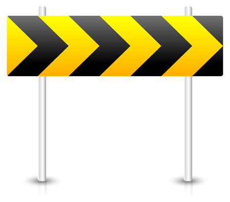 avoidance: Vector Illustration of Road construction road sign. Roadblock, bypass, diversion, roundabout concepts.