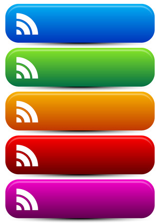 wireless signal: vector Illustration of Rectangular, Oblong buttons with wireless signal shape Illustration