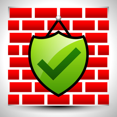 anti piracy: Vector Illustration of Shield with check-mark hanging on wall for IT concepts or home security - Firewall, antivirus, cyber security