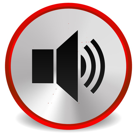 loudness: Vector Illustration of Metallic Red Speaker, Alarm Icon for Audio, Music Concepts or for Loudness, Announcement or Emergency, Alarm System Concepts