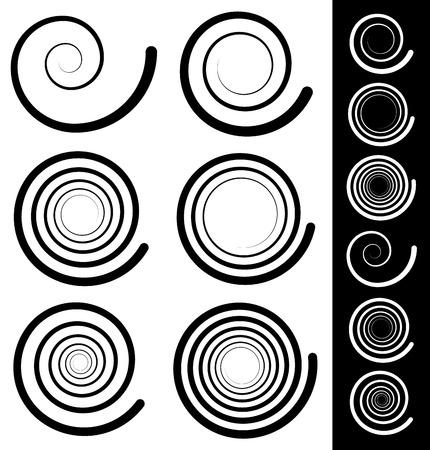 spiralling: vector illustration of Spiral elements. Set of 6 different swirl, swoosh