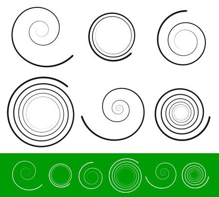 volute: Illustrazioni vettoriali di vettore spirale set con 6 diverse versioni con profilo ictus. Estratto Viticcio, Bine, Voluta, Helix set. Vector ornamento, elementi di decorazione.