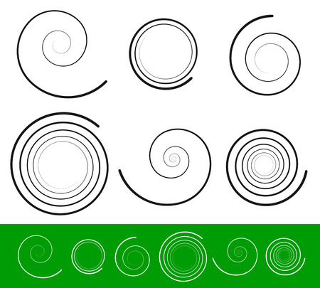 volute: Vector Illustration of Vector spiral set with 6 different version with stroke profile. Abstract Tendril, Bine, Volute, Helix set. Vector ornament, decoration elements. Illustration
