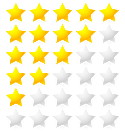 Vector Illustration of 5 Star Rating System. Star rating vector with bright star shapes isolated on white. Appraisal, evaluation, feedback.  イラスト・ベクター素材
