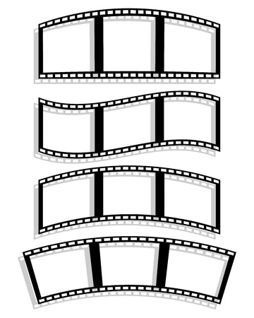 filmroll: Vector Illustration of Set of Filmstrip silhouettes with different distortion effect. Wavy, arching, curving Filmstrips. Illustration